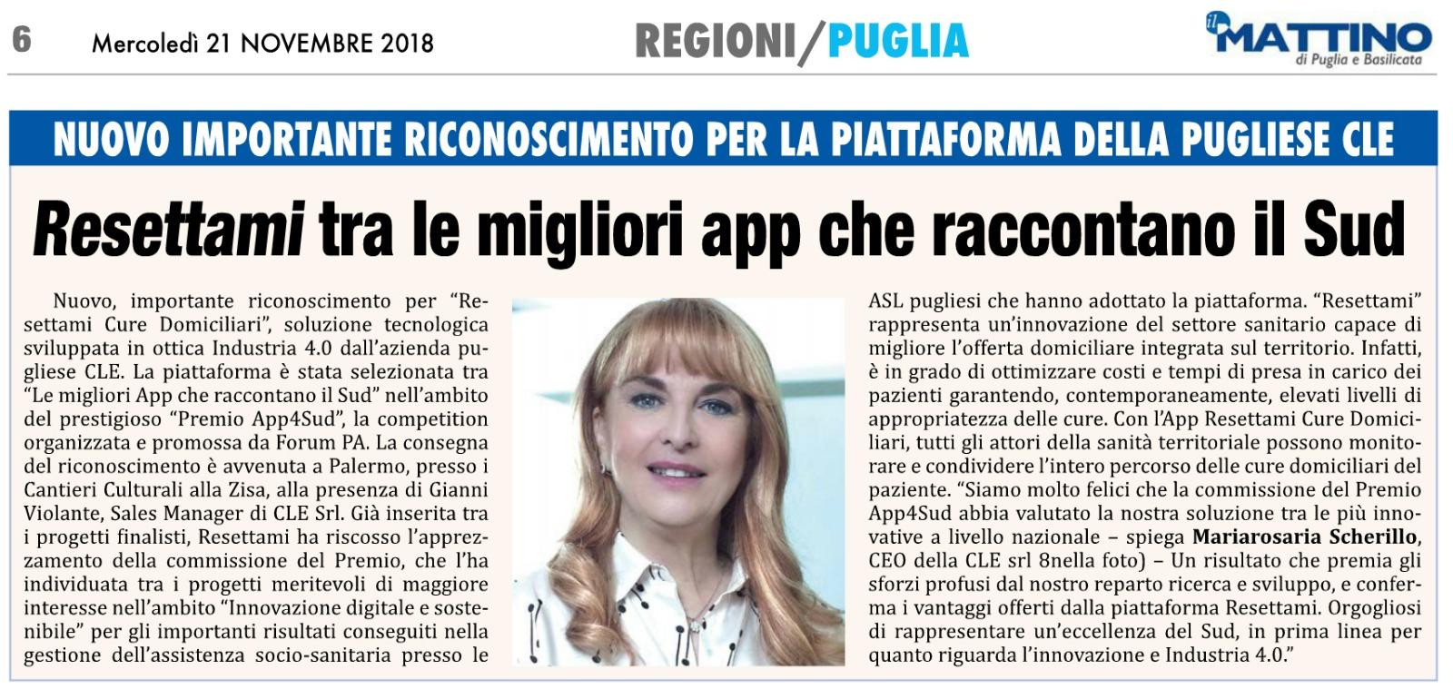 """You are currently viewing Premio App4Sud: """"Resettami Cure Domiciliari"""" dell'azienda pugliese CLE tra le migliori App che raccontano il Sud"""