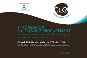"""Read more about the article """"1° Roadshow sul Public e-Procurement"""" promosso dalla CLE – Città Metropolitana di Bari, 28 febbraio"""