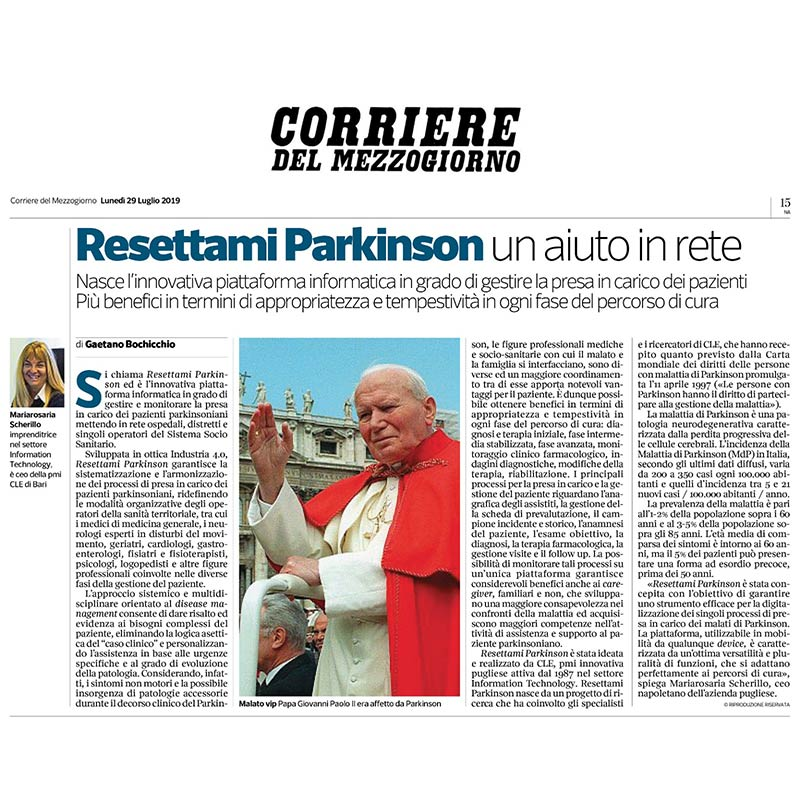 You are currently viewing Il Corriere del Mezzogiorno dedica un approfondimento alla nostra Piattaforma Informatica Resettami Parkinson