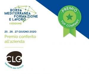 """Read more about the article A CLE il Premio """"Top Company"""" della Borsa Mediterranea della Formazione e del Lavoro"""