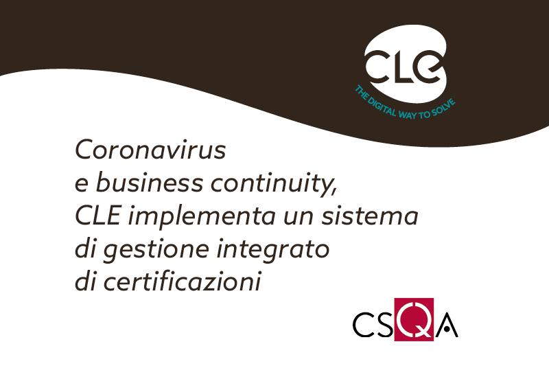 coronavirus e business continuity CLE